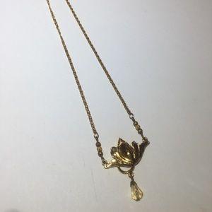 Vintage Monet Gold Flower & crystal necklace